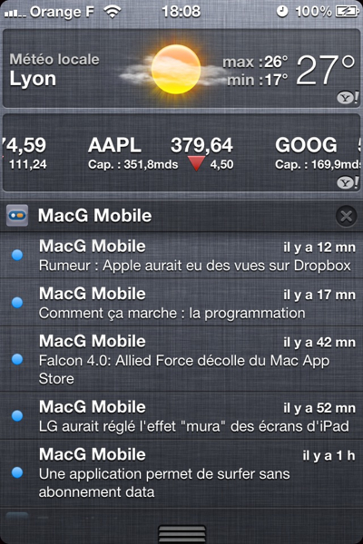 centre de notifications iOS 5