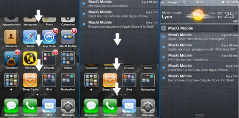 iOS 5 affichage du centre de notifications