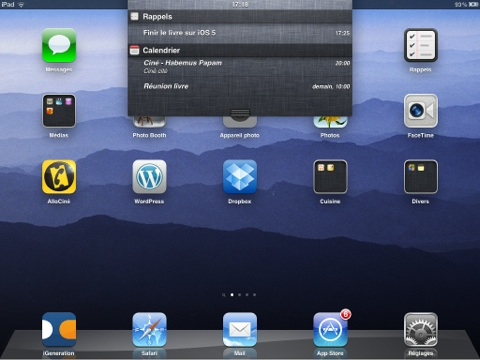 centre de notifications sur iPad