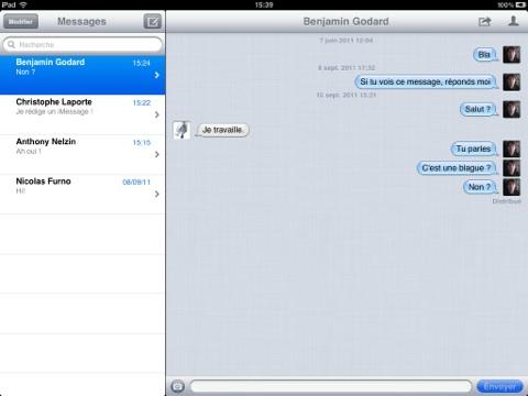 iMessage sur iPad