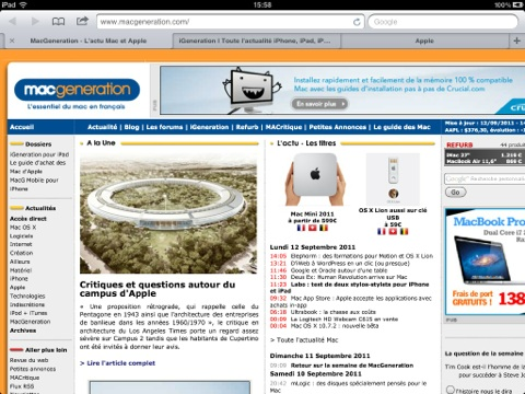 iPad safari mobile onglets
