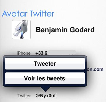 carnet d'adresses iOS 5 twitter