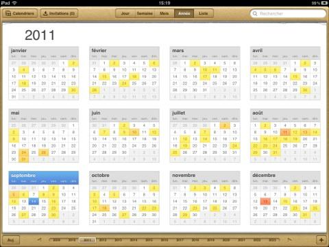 iOS 5 vue annuelle iPad