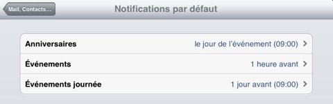 alerte par défaut iCal