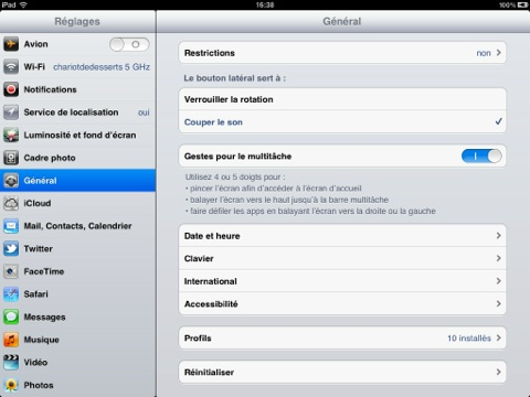 iPad gestes multitâche
