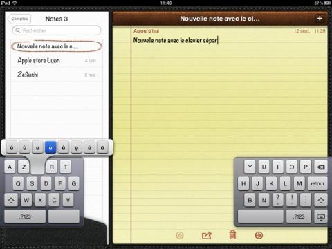 iPad iOS 5 clavier dissocié