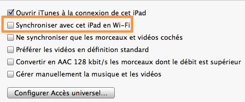 iTunes synchronisation sans-fil