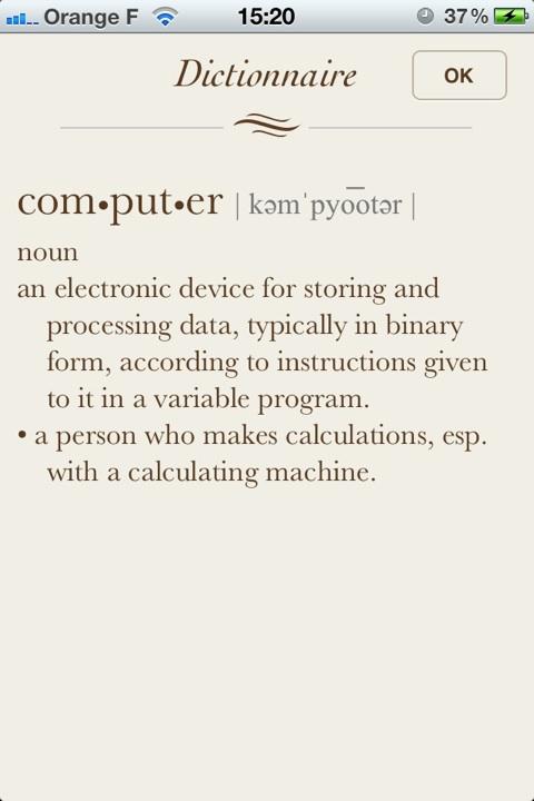 iOS 5 dictionnaire