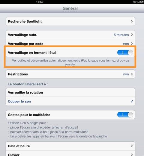 iPad 2 réglages