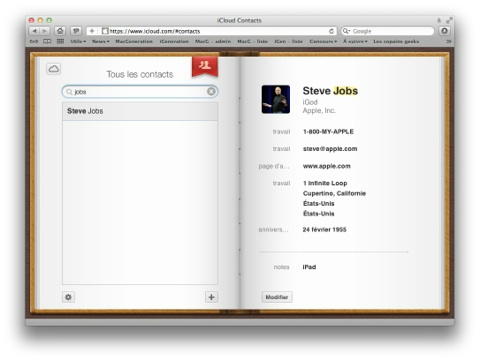iCloud carnet d'adresses