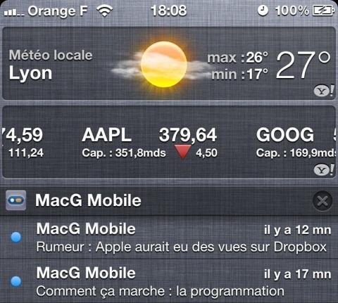 centre notification iOS 5
